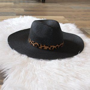 New Black Boho Panama Hat with Leopard Print Band